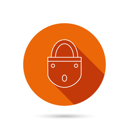 secret codes: Lock icon. Padlock or protection sign. Password symbol. Round orange web button with shadow. Illustration