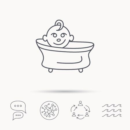infant bathing: Baby in bath icon. Toddler bathing sign. Newborn washing symbol. Global connect network, ocean wave and chat dialog icons. Teamwork symbol.