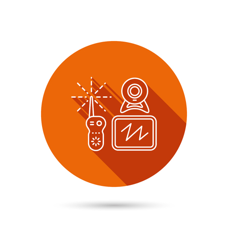 nanny: Baby monitor icon. Video nanny for newborn sign. Radio set with camera and tv symbol. Round orange web button with shadow. Illustration