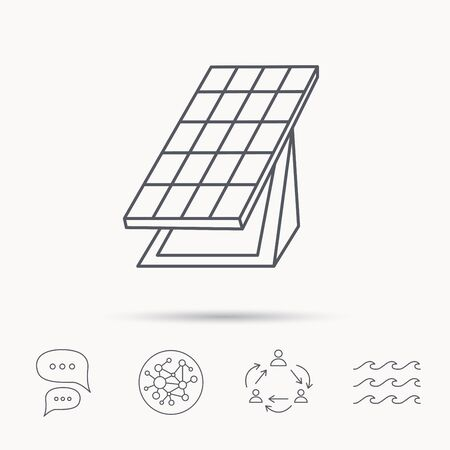 solar collector: Solar collector icon. Sunlight energy generation sign. Innovation battery power symbol. Global connect network, ocean wave and chat dialog icons. Teamwork symbol. Illustration
