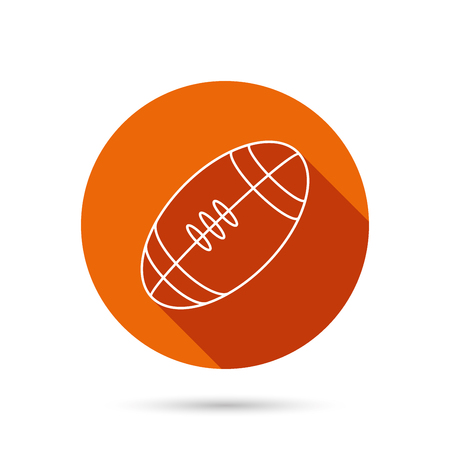 team game: American football icon. Sport ball sign. Team game symbol. Round orange web button with shadow.