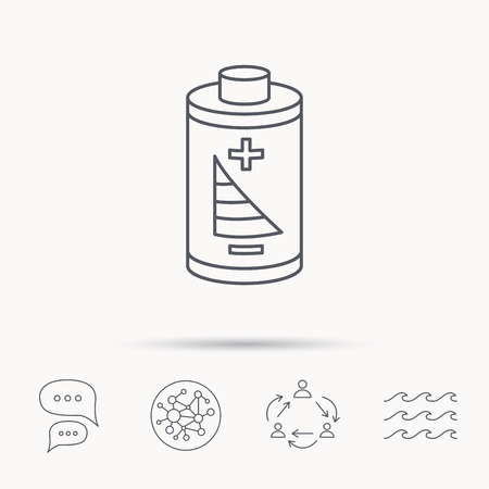 rechargeable: Battery icon. Electrical power sign. Rechargeable energy symbol. Global connect network, ocean wave and chat dialog icons. Teamwork symbol.