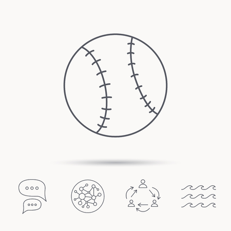 team game: Baseball equipment icon. Sport ball sign. Team game symbol. Global connect network, ocean wave and chat dialog icons. Teamwork symbol.