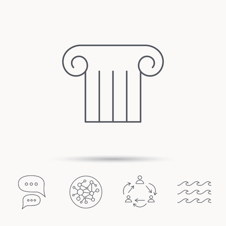 Antique column icon. Ancient museum sign. Architectural pillar symbol. Global connect network, ocean wave and chat dialog icons. Teamwork symbol.