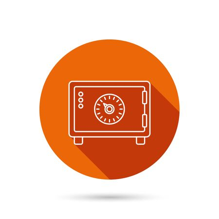 combination lock: Safe icon. Money deposit sign. Combination lock symbol. Round orange web button with shadow. Illustration