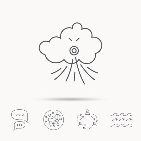 the tempest: Wind icon. Cloud with storm sign. Strong wind or tempest symbol. Global connect network, ocean wave and chat dialog icons. Teamwork symbol. Illustration