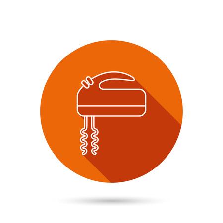icon Blender. signe Mixer. Round bouton web orange avec l'ombre.
