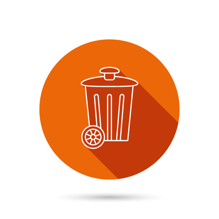 trash container: Recycle bin icon. Trash container sign. Street rubbish symbol. Round orange web button with shadow.