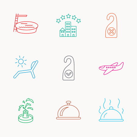 pool room: Hotel, swimming pool and beach deck chair icons. Reception bell, restaurant food and airplane linear signs. Do not disturb and clean room flat line icons. Linear colored icons.
