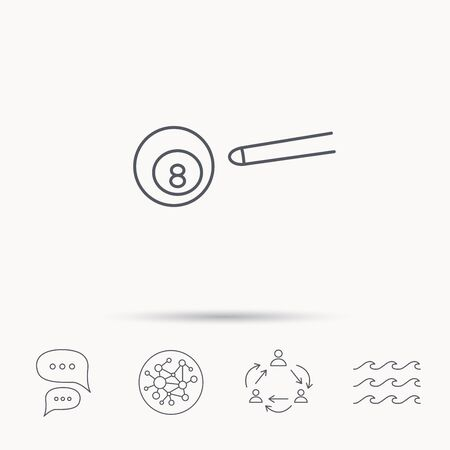 cue sports: Billiard ball icon. Pool or snooker equipment sign. Cue sports symbol. Global connect network, ocean wave and chat dialog icons. Teamwork symbol. Illustration