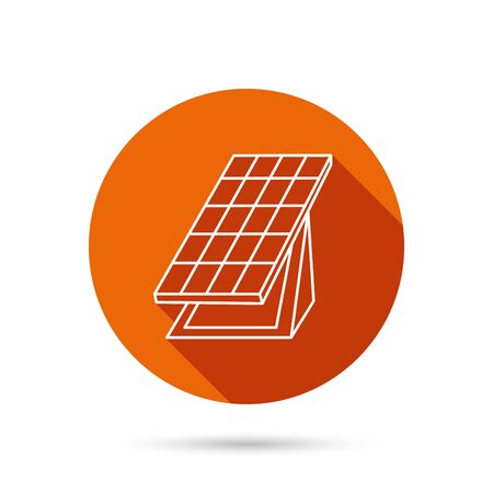collector: Solar collector icon. Sunlight energy generation sign. Innovation battery power symbol. Round orange web button with shadow. Illustration