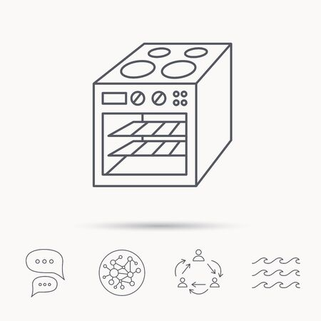 Oven icon. Electric stove sign. Global connect network, ocean wave and chat dialog icons. Teamwork symbol. Vector Illustration