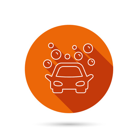 Car wash icon. Cleaning station sign. Foam bubbles symbol. Round orange web button with shadow.