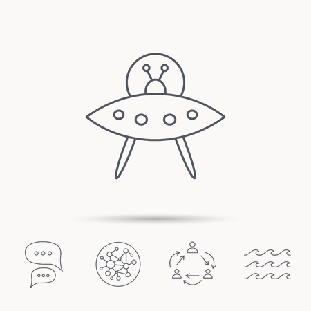 martians: UFO icon. Unknown flying object sign. Martians symbol. Global connect network, ocean wave and chat dialog icons. Teamwork symbol.