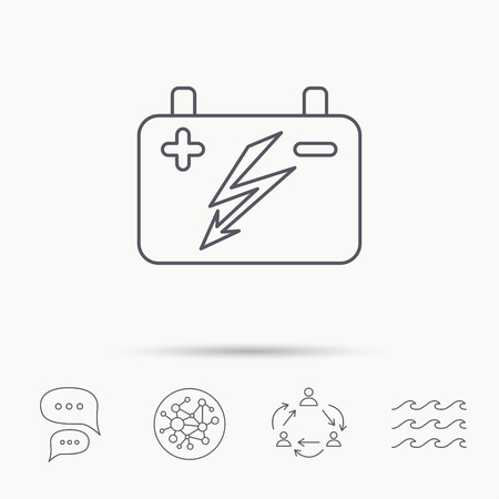 emitter: Accumulator icon. Electrical battery sign. Global connect network, ocean wave and chat dialog icons. Teamwork symbol.