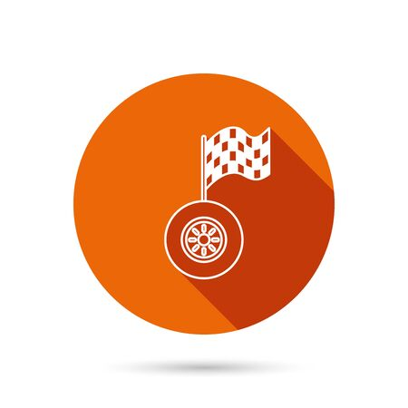racing sign: Race icon. Wheel with racing flag sign. Round orange web button with shadow. Illustration