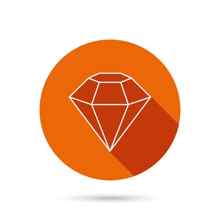 round brilliant: Diamond icon. Brilliant gemstone sign. Round orange web button with shadow.