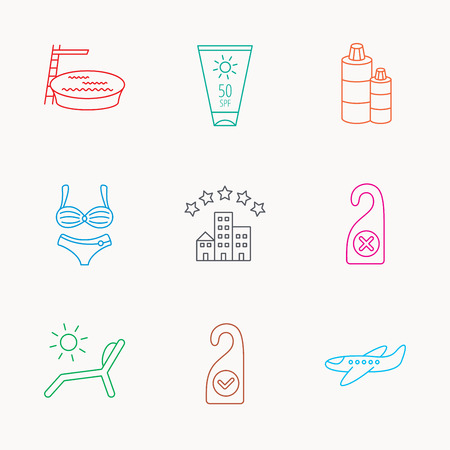 Hotel, swimming pool and beach deck chair icons. Sun cream, do not disturb and clean room linear signs. Shampoo and airplane icons. Linear colored icons.