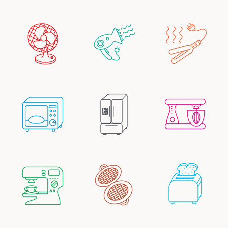 coffee blender: Microwave oven, hair dryer and blender icons. Refrigerator fridge, coffee maker and toaster linear signs. Ventilator, curling iron and waffle-iron icons. Linear colored icons.