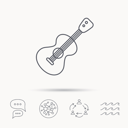 entertainer: Guitar icon. Musical instrument sign. Band guitarist symbol. Global connect network, ocean wave and chat dialog icons. Teamwork symbol.
