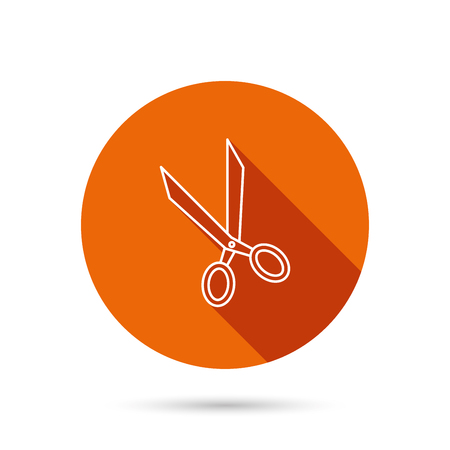 hairdressing scissors: Tailor scissors icon. Hairdressing sign. Grooming symbol. Round orange web button with shadow. Illustration