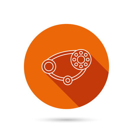 timing belt: Timing belt icon. Generator strap sign. Repair service symbol. Round orange web button with shadow.