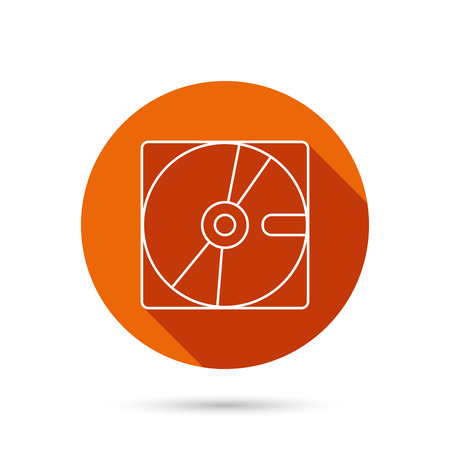 long recovery: Harddisk icon. Hard drive storage sign. Round orange web button with shadow. Illustration