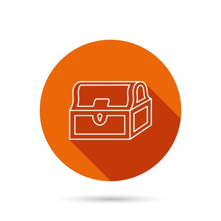 treasury: Treasure chest icon. Piratic treasury sign. Wealth symbol. Round orange web button with shadow.
