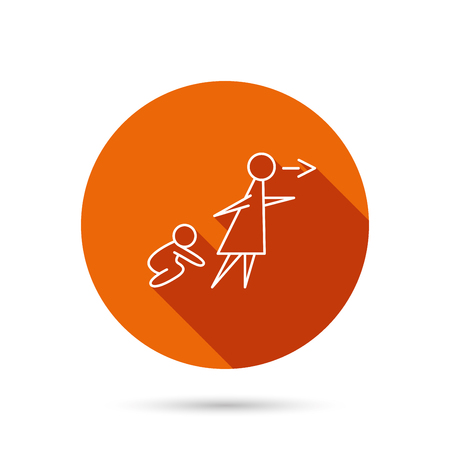 child care: Unattended baby icon. Babysitting care sign. Do not leave your child alone symbol. Round orange web button with shadow.
