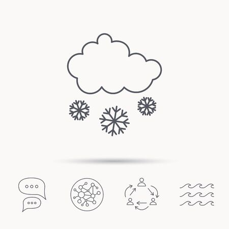 overcast: Snow icon. Snowflakes with cloud sign. Snowy overcast symbol. Global connect network, ocean wave and chat dialog icons. Teamwork symbol. Illustration