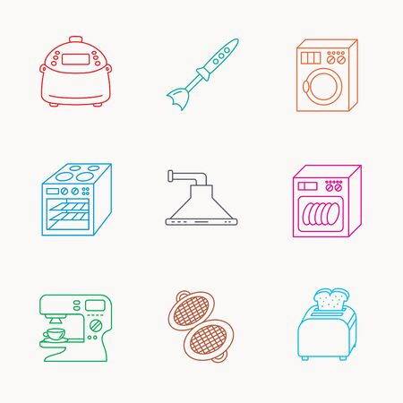 coffee blender: Dishwasher, washing machine and blender icons. Kitchen hood, coffee maker and toaster linear signs. Oven, multicooker and waffle-iron icons. Linear colored icons. Illustration