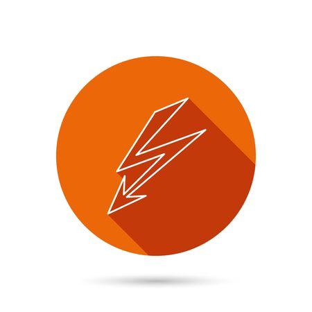 lightening: Lightening bolt icon. Power supply sign. Electricity symbol. Round orange web button with shadow.