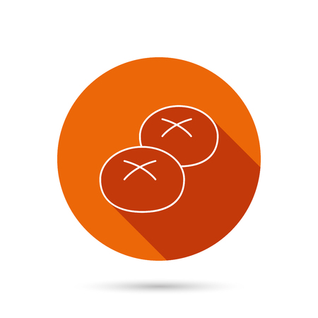 Bread rolls or buns icon. Natural food sign. Bakery symbol. Round orange web button with shadow.