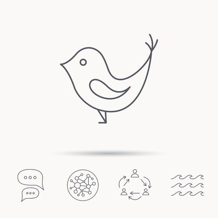 beak: Bird with beak icon. Cute small fowl symbol. Social media concept sign. Global connect network, ocean wave and chat dialog icons. Teamwork symbol.