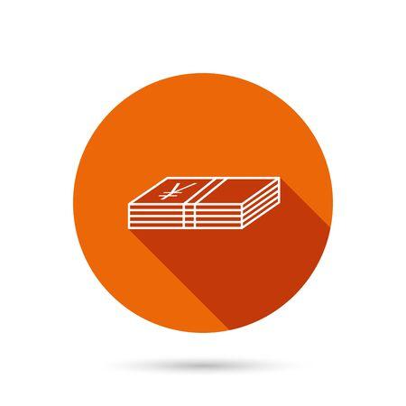 cash money: Cash icon. Yen money sign. JPY currency symbol. Round orange web button with shadow. Illustration