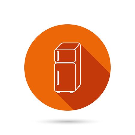 Refrigerator icon. Fridge sign. Round orange web button with shadow. Illustration