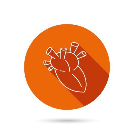transplantation: Heart icon. Human organ sign. Surgical transplantation symbol. Round orange web button with shadow.