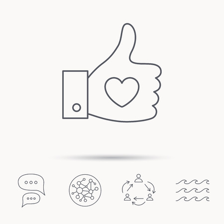 chat up: Thumb up like icon. Super cool vote sign. Social media symbol. Global connect network, ocean wave and chat dialog icons. Teamwork symbol.