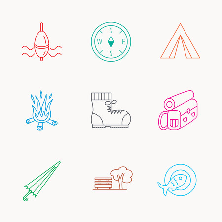 fishing float: Park, fishing float and hiking boots icons. Compass, umbrella and bonfire linear signs. Camping tent, fish dish and tree icons. Linear colored icons. Illustration