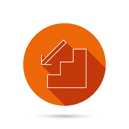 downstairs: Downstairs icon. Direction arrow sign. Round orange web button with shadow.