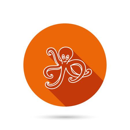 devilfish: Octopus icon. Ocean devilfish sign. Round orange web button with shadow.