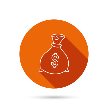 tare: Sack with dollars icon. Money bag sign. Banking symbol. Round orange web button with shadow. Illustration