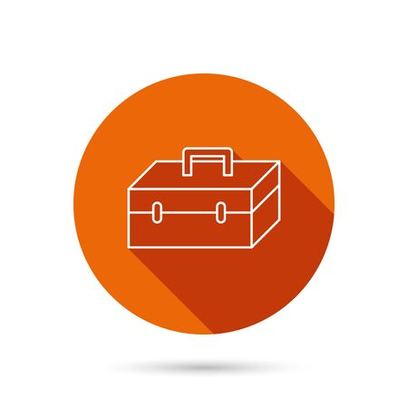 Toolbox icon. Repair instruments sign. Round orange web button with shadow.