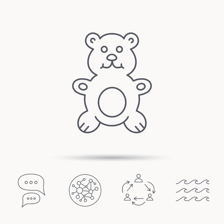 plush: Teddy-bear icon. Baby toy sign. Plush animal symbol. Global connect network, ocean wave and chat dialog icons. Teamwork symbol. Illustration