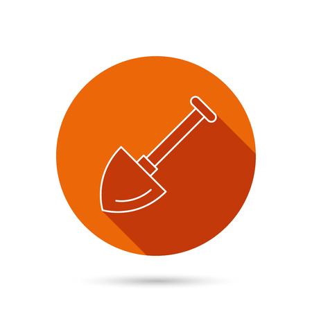 crop circle: Shovel icon. Garden equipment sign symbol. Round orange web button with shadow. Illustration