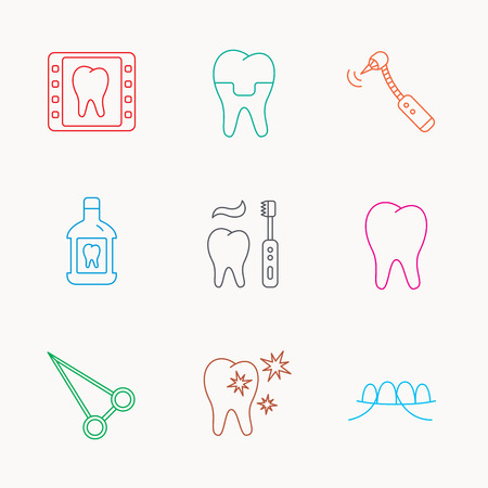 forceps: Stomatology, tooth and dental crown icons. X-ray, mouthwash and dental floss linear signs. Toothache, forceps icons. Linear colored icons.