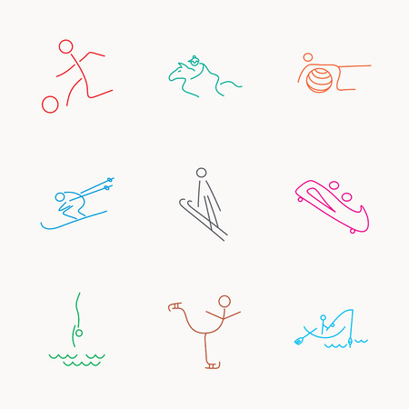 bobsled: Pilates, football and skiing icons. Fishing, diving and figure skating linear signs. Ski jumping, horseback riding and bobsled icons. Linear colored icons. Illustration