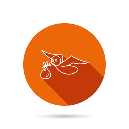 Cigogne avec l'icône de sac. Symbole du nouveau-né. Bouton web orange rond avec une ombre. Vecteurs