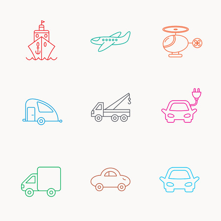planos electricos: Transportation icons. Car, ship and truck linear signs. Airplane, helicopter and evacuator flat line icons. Linear colored icons. Vectores