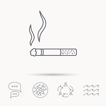 smoking place: Smoking allowed icon. Yes smoke sign. Global connect network, ocean wave and chat dialog icons. Teamwork symbol.